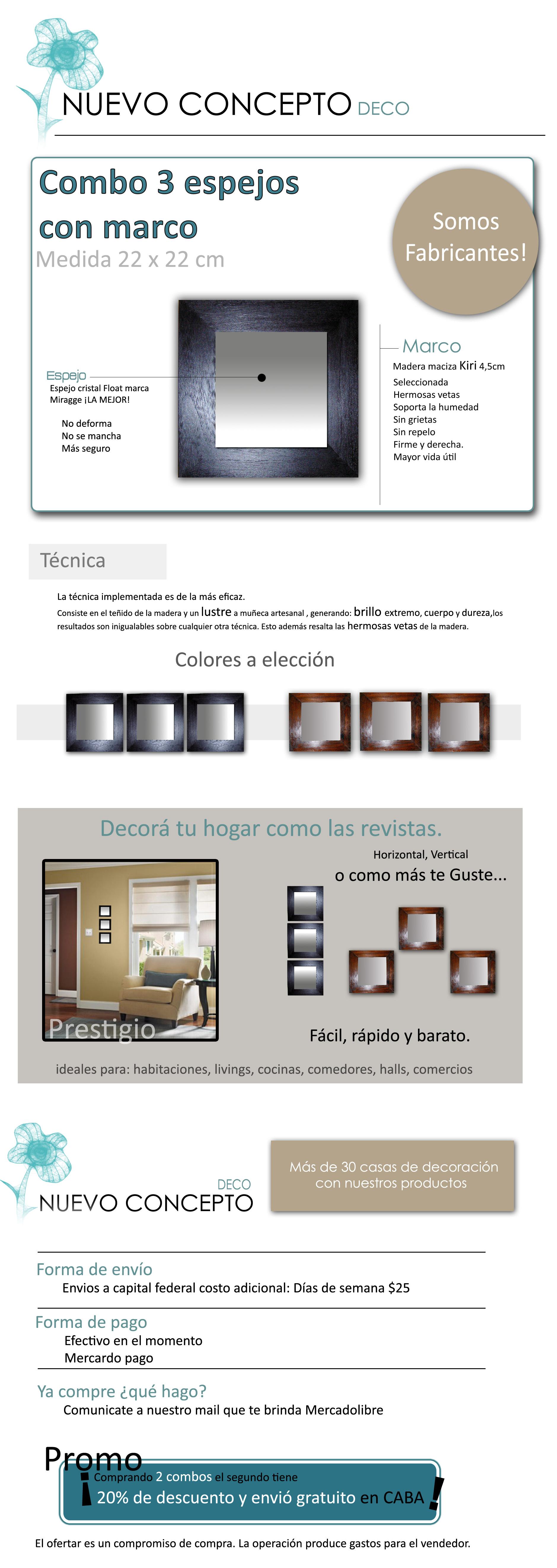 Espejos decoraci n kit living comedor escritorio cocina for Espejos en living o comedor
